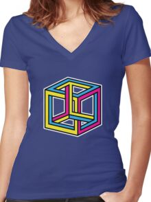 Cube Illusion Women's Fitted V-Neck T-Shirt