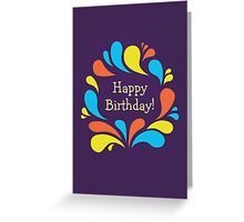 Funky Colorful Swirls Happy Birthday  Greeting Card