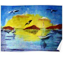 Sun down on the sailboats, watercolor Poster