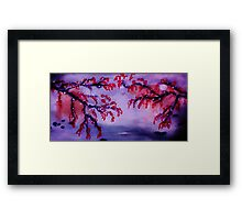 Chinese painting , Blossoms over water, watercolor Framed Print
