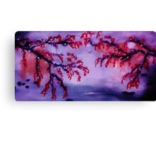 Chinese painting , Blossoms over water, watercolor Canvas Print