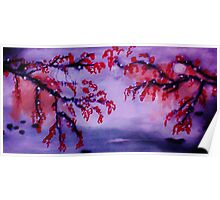 Chinese painting , Blossoms over water, watercolor Poster