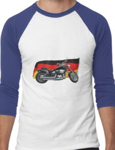 German Flag, Motorcycle Patriotic Design Men's Baseball ¾ T-Shirt