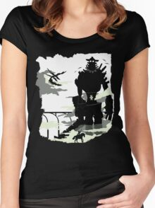 Silhouette of the Colossus white Women's Fitted Scoop T-Shirt