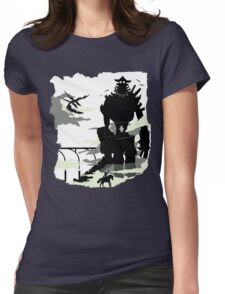 Silhouette of the Colossus white Womens Fitted T-Shirt