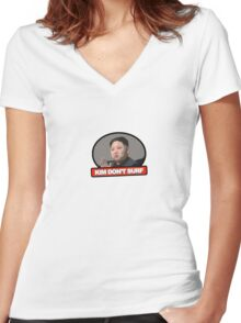 Kim Jung Un Don't Surf Women's Fitted V-Neck T-Shirt