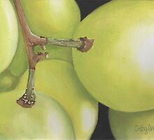 White Grapes Print by cathy savels