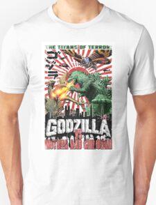 Godzilla vs Mothra and Ghidorah poster. Cult movie classic. Vintage sci-fi.  T-Shirt