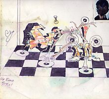 Photography, graffiti, and  graphics!....GERONIMO!..PLAYS CHESS! Photographic Print