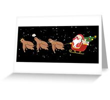 Funny sloth reindeer Santa face palm Christmas scene Greeting Card