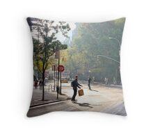 Skateboard Commuter Throw Pillow