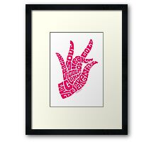 heart in hand in bright pink Framed Print