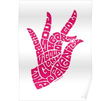 heart in hand in bright pink Poster
