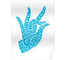 heart in hand in bright sky blue Poster