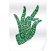 heart in hand in bright emerald Poster