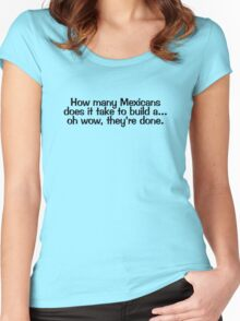 How many Mexicans does it take to build a... oh wow they're done Women's Fitted Scoop T-Shirt