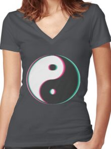 Trippy Yin Yang Women's Fitted V-Neck T-Shirt
