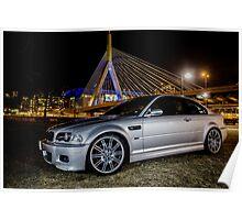 E46 Silver BMW M3 Poster