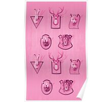 Hunting Series - Different Pink Animal Head Pattern Poster