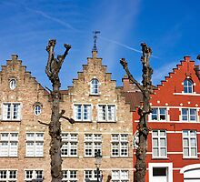Traditional old Belgium House Facades in Bruges by kirilart