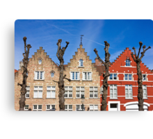 Traditional old Belgium House Facades in Bruges Canvas Print