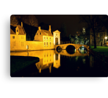 The Bridge And The Convent Entrance In Bruges Canvas Print