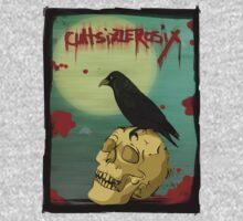 Crow, Skull, Blood One Piece - Long Sleeve