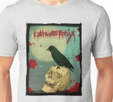Crow, Skull, Blood Unisex T-Shirt