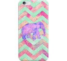 Whimsical Purple Elephant Mint Green Pink Chevron iPhone Case/Skin