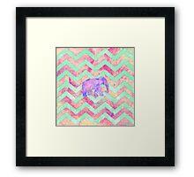 Whimsical Purple Elephant Mint Green Pink Chevron Framed Print