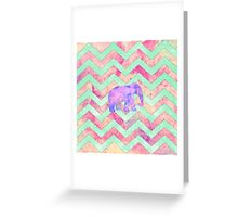 Whimsical Purple Elephant Mint Green Pink Chevron Greeting Card