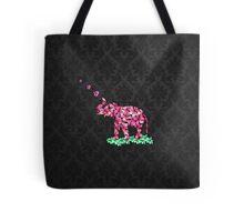 Retro Flower Elephant Pink Sakura Black Damask Tote Bag