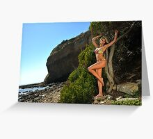 Sexy bikini on location of CA coastline  Greeting Card