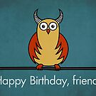 Funny Cartoon Horned Owl Birthday Card by Boriana Giormova