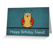 Funny Cartoon Horned Owl Birthday Card Greeting Card