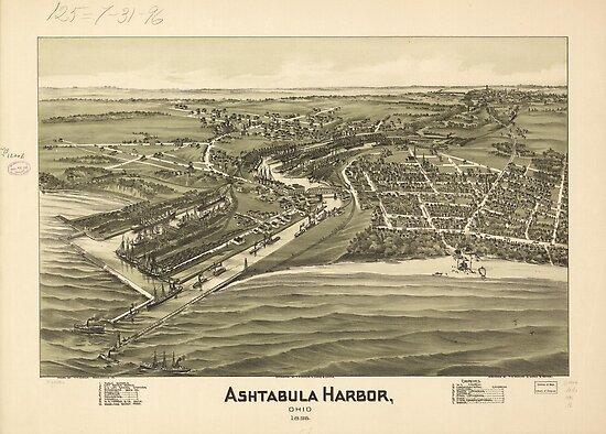 Ashtabula Harbor Map (1896) by alleycatshirts