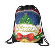 Christmas snow globe with xmas tree Drawstring Bag