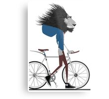 Hipster Lion and his Bicycle Metal Print