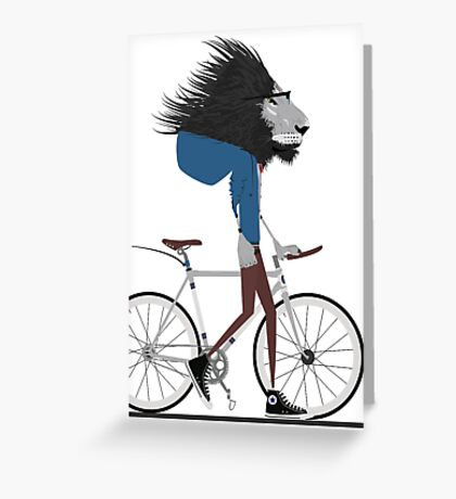 Hipster Lion and his Bicycle Greeting Card