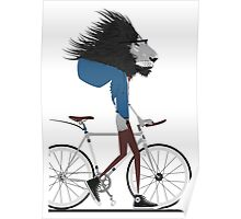 Hipster Lion and his Bicycle Poster