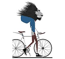 Hipster Lion and his Bicycle Photographic Print