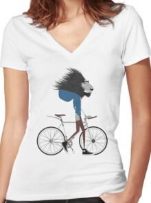 Hipster Lion and his Bicycle Women's Fitted V-Neck T-Shirt