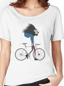 Hipster Lion and his Bicycle Women's Relaxed Fit T-Shirt