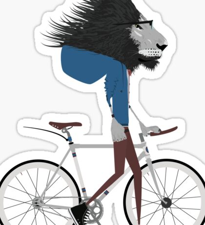 Hipster Lion and his Bicycle Sticker