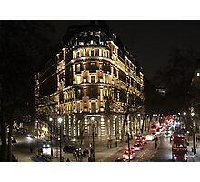 London Embankment at Night Photographic Print