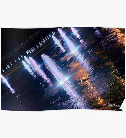 Manchester's Neon Fountains Poster