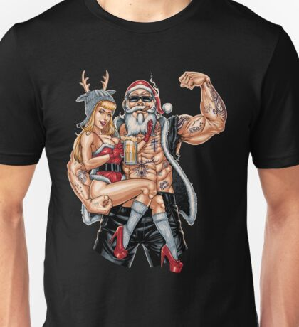 Strong Santa Claus X-Mas Pin Up Muscle Unisex T-Shirt
