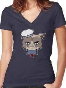 Stay Grumpy The Marshmallow Cat Women's Fitted V-Neck T-Shirt