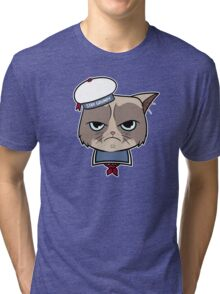 Stay Grumpy The Marshmallow Cat Tri-blend T-Shirt