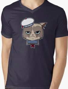 Stay Grumpy The Marshmallow Cat Mens V-Neck T-Shirt